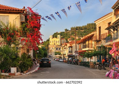 KYPARISSIA OLD TOWN, GREECE - June 5: Kyparissia Old Town, June 5, 2017. The old town of Kyparissia has been declared a historic preservation settlement with cobbled streets and old mansions.