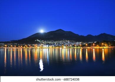 Kyparissia Peloponnese, Greece. Full moon.