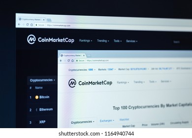 KYRENIA, CYPRUS - AUGUST 26, 2018:  Coin market cap home page on the screen. Coinmarketcap is a website for tracking capitalization of various cryptocurrencies