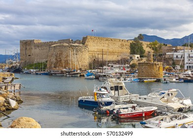 KYRENIA, CYPRUS - JANUARY 19, 2015: Old harbour and Kyrenia castle (Girne Kalesi), Northern Cyprus. Kyrenia is a city on the northern coast of Cyprus, noted for its historic harbour and castle