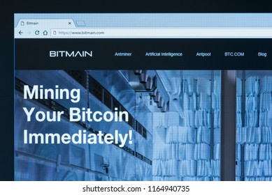 KYRENIA, CYPRUS - JULY 26, 2018: Home page of Bitmain Technologies Ltd.  Bitmain is a Chinese company, largest bitcoin miner in the world and manufacturer of mining hardware.