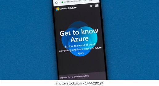 KYRENIA, CYPRUS - JULY 5, 2019:  Microsoft Azure website displayed on smartphone screen. Microsoft Azure is a cloud computing service for building, testing, deploying and managing applications