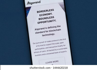 KYRENIA, CYPRUS - JULY 5. 2019: Algorand  cryptocurrency website displayed on smartphone screen. Algorand  ( Algo ) is a scalable, secure and decentralized digital currency