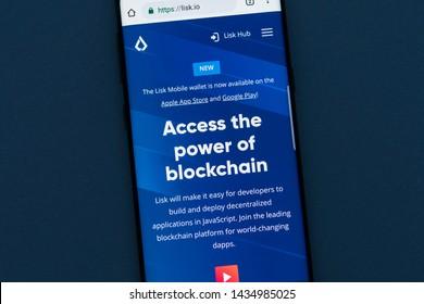 KYRENIA, CYPRUS - JUNE 25, 2019:  Lisk website displayed on smartphone screen. Lisk ( LSK ) is a blockchain application platform.