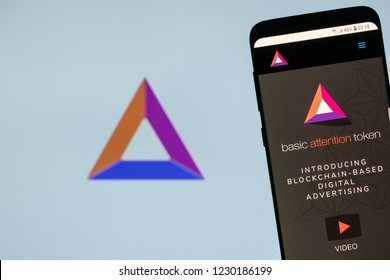 KYRENIA, CYPRUS - NOVEMBER 14, 2018: Basic Attention Token ( BAT )  website displayed on smartphone screen.