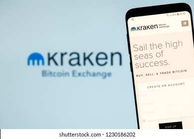 KYRENIA, CYPRUS - NOVEMBER 14, 2018:  KRAKEN bitcoin exchange website displayed on the smartphone screen.