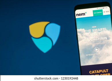 KYRENIA, CYPRUS - NOVEMBER 14, 2018: NEM ( XEM ) cryptocurrency  website displayed on the smartphone screen.