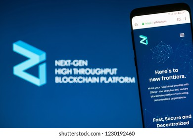 KYRENIA, CYPRUS - NOVEMBER 14, 2018: Zilliqa ( ZIL ) cryptocurrency  website displayed on the smartphone screen.