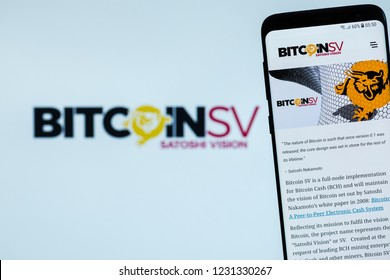 KYRENIA, CYPRUS - NOVEMBER 16, 2018: Bitcoin SV website displayed on the smartphone screen. BitcoinSV is a fork of bitcoin cash.
