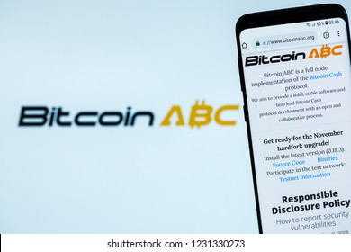 KYRENIA, CYPRUS - NOVEMBER 16, 2018: Bitcoin ABC ( BCHABC ) website displayed on the smartphone screen.  BitcoinABC is a fork of bitcoin cash.