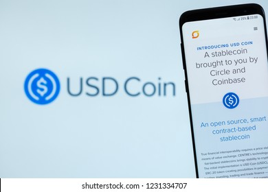 KYRENIA, CYPRUS - NOVEMBER 16, 2018: USDCoin website displayed on the smartphone screen. USDC is a cryptocurrency, stablecoin, backed by Coinbase and Circle Pay