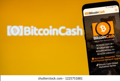 KYRENIA, CYPRUS - NOVEMBER 8, 2018: Bitcoin Cash website displayed on the smartphone screen. Bitcoin Cash is a cryptocurrency and payment network.