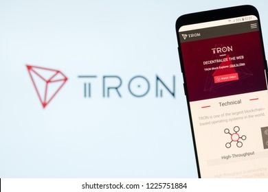 KYRENIA, CYPRUS - NOVEMBER 8, 2018: TRON ( TRX ) cryptocurrency website displayed on the smartphone  screen