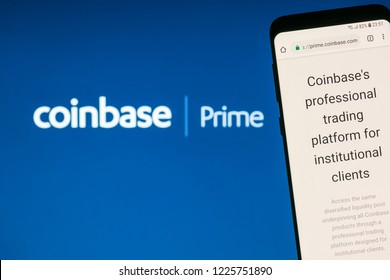 KYRENIA, CYPRUS – NOVEMBER 8, 2018: Coinbase Prime website displayed on smartphone screen. Coinbase Prime  is  a professional trading platform built specifically for institutional investors