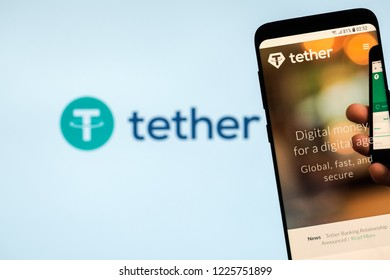 KYRENIA, CYPRUS - NOVEMBER 8, 2018: Tether cryptocurrency website displayed on the smartphone screen.