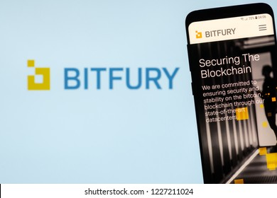 KYRENIA, CYPRUS -  NOVEMBER 8. 2018: Bitfury website on the smartphone display. Bitfury is a blockchain company, the large industrial miner, developer of software and hardware for Bitcoin blockchain