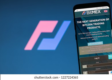 KYRENIA, CYPRUS - NOVEMBER 8, 2018: BitMEX website displayed on the smartphone screen. BitMEX is a cryptocurrency exchange and derivative trading platform.