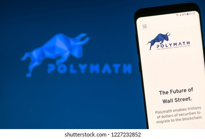 KYRENIA, CYPRUS - NOVEMBER 8, 2018: POLYMATH ( POLY ) cryptocurrency website displayed on the smartphone  screen