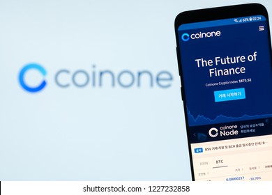 KYRENIA, CYPRUS - NOVEMBER 8, 2018: COINONE  bitcoin and cryptocurrency exchange website displayed on the smartphone  screen.