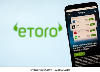 KYRENIA, CYPRUS - NOVEMBER 8, 2018: eToro website displayed on the screen. eToro is a multi-asset platform which offers both investing in stocks and cryptocurrencies, as well as trading CFD assets