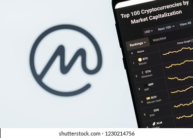 KYRENIA, CYPRUS - OCTOBER 14, 2018:  Coin market cap home page displayed on a smartphone screen. Coinmarketcap is a website for tracking capitalization of various cryptocurrencies