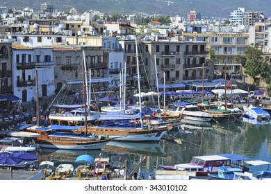 KYRENIA, CYPRUS - OCTOBER 17: Yacht harbor of the city with different boats, hotels and restaurants, preferred place for tourists and inhabitants, on October 17, 2015 in Kyrenia, Cyprus