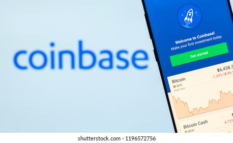 KYRENIA, CYPRUS - OCTOBER 3, 2018: Coinbase mobile application running on smartphone. Coinbase is a cryptocurrency trading platform