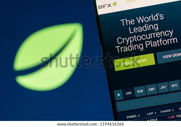 KYRENIA, CYPRUS - OCTOBER 3, 2018: Bitfinex website displayed on the smartphone screen. Bitfinex is a cryptocurrency trading platform.