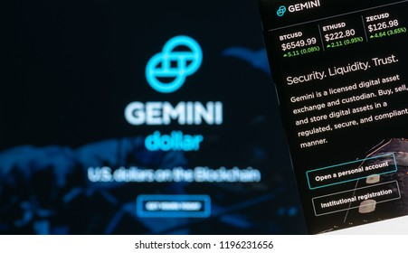 KYRENIA, CYPRUS - OCTOBER 5, 2018: Gemini webpage displayed on the smartphone screen. Gemini is a digital currency exchange and custodian that allows customers to buy, sell and store digital assets