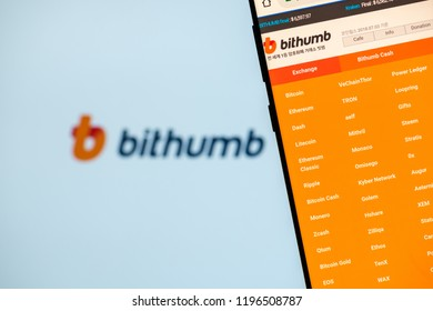 KYRENIA, CYPRUS - OCTOBER 5, 2018:  Bithumb website on the smartphone screen. Bithumb is one of the largest cryptocurrency exchange by daily  trading volume