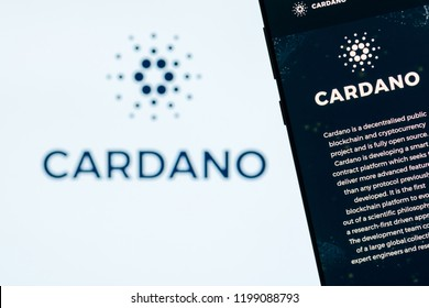 KYRENIA, CYPRUS - OCTOBER 8, 2018:  Cardano website displayed on the smartphone screen. ADA is a decentralized, open source, public blockchain protocol and cryptocurrency project.