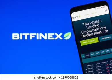 KYRENIA, CYPRUS - OCTOBER 8, 2018: Bitfinex website displayed on the smartphone screen. Bitfinex is a cryptocurrency trading platform.