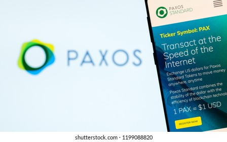 KYRENIA, CYPRUS – OCTOBER 8, 2018: Paxos Standart website displayed on the smartphone screen. PAX is cryptocurrency, stablecoin, completely regulated and approved by NYDFS