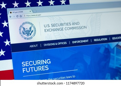 KYRENIA, CYPRUS - SEPTEMBER 08, 2018: Website of U.S. Securities and Exchange Commission  displayed on the computer screen. SEC is an independent agency of the United States federal government.