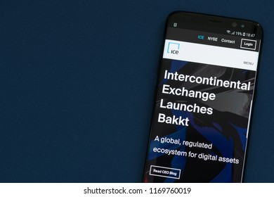 KYRENIA, CYPRUS - SEPTEMBER 1, 2018: Website of Intercontinental Exchange NYSE: ICE  with announcement of launching Bakkt - open and regulated crypto platform and global ecosystem for digital assets