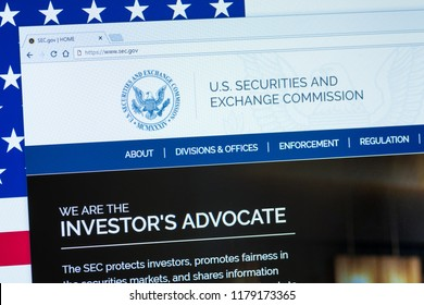 KYRENIA, CYPRUS - SEPTEMBER 10, 2018: Website of U.S. Securities and Exchange Commission  displayed on the computer screen. SEC is an independent agency of the United States federal government.
