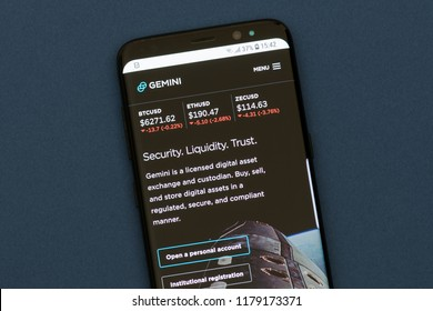 KYRENIA, CYPRUS - SEPTEMBER 12, 2018: Gemini webpage displayed on the smartphone screen. Gemini is a digital currency exchange and custodian that allows customers to buy, sell and store digital assets