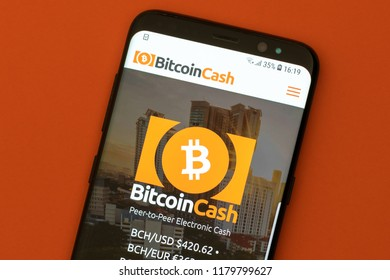 KYRENIA, CYPRUS - SEPTEMBER 12, 2018: Bitcoin Cash website displayed on the smartphone screen. Bitcoin Cash is a cryptocurrency and payment network.