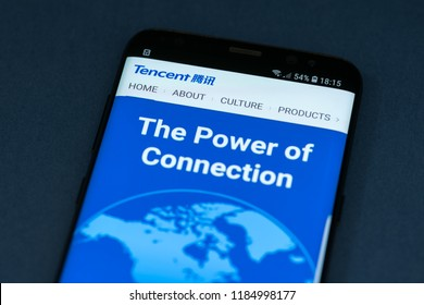 KYRENIA, CYPRUS - SEPTEMBER 17, 2018: Tencent corporation website displayed on the smartphone screen.