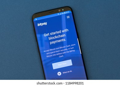 KYRENIA, CYPRUS - SEPTEMBER 17, 2018: Bitpay website displayed on the smartphone screen. BitPay is a global bitcoin payment service provider