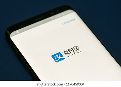 KYRENIA, CYPRUS - SEPTEMBER 2, 2018: Alipay app on smartphone. Alipay is a world largest mobile and online payments platform established in China in 2004 by Alibaba Group and its founder Jack Ma