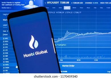 KYRENIA, CYPRUS - SEPTEMBER 2, 2018: Huobi Global application running on smartphone. Huobi Global is one of the largest cryptocurrency exchange by daily trading volume.