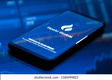 KYRENIA, CYPRUS - SEPTEMBER 21, 2018: Huobi Global mobile app running on smartphone. Huobi - one of the largest cryptocurrency exchange on the market.