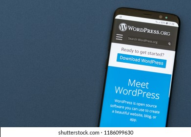 KYRENIA, CYPRUS - SEPTEMBER 21, 2018: Wordpress website displayed on smartphone screen. WordPress is the most popular website management system ( CMS )  based on PHP and MySQL.