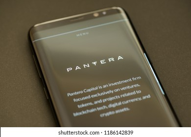 KYRENIA, CYPRUS - SEPTEMBER 21, 2018: Pantera website on smartphone. Pantera Capital is an investment firm and hedge fund focused on ventures, projects related to blockchain tech and digital currency