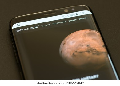 KYRENIA, CYPRUS - SEPTEMBER 21, 2018: SpaceX website displayed on the modern smartphone.