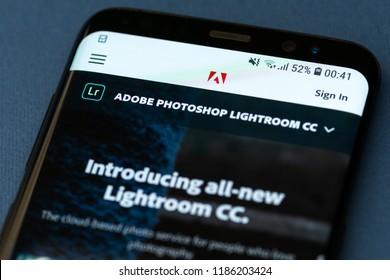 KYRENIA, CYPRUS - SEPTEMBER 21, 2018:  Adobe Photoshop Lightroom website displayed on smartphone screen.