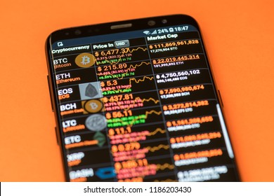 KYRENIA, CYPRUS - SEPTEMBER 21, 2018: Top capitalization cryptocurrencies exchange to dollar rates displayed on the modern smartphone screen.