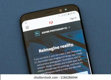 KYRENIA, CYPRUS - SEPTEMBER 21, 2018:  Adobe Photoshop CC website displayed on smartphone screen.