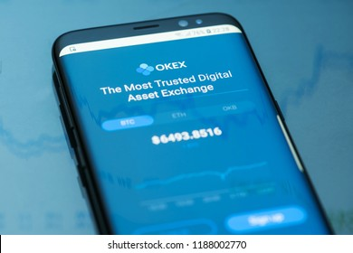 KYRENIA, CYPRUS - SEPTEMBER 24, 2018: OKex cryptocurrency exchange mobile app displayed on the screen of modern smartphone.